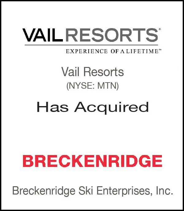 Vail Resorts Breckenridge Tombstone